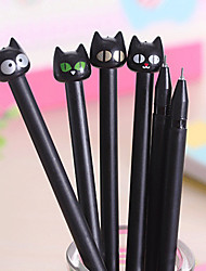 Creative Neutral Pen Needle Tube Pen Black Cute Black Cat Pen (Style Random)