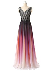 Formal Evening Dress A-line V-neck Floor-length Chiffon with Lace / Pattern / Print / Sequins