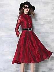 De las mujeres Encaje Vestido Casual / Vacaciones Estampado Hasta la Rodilla Escote Chino Poliéster