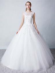 Ball Gown Wedding Dress Floor-length Jewel Tulle with Beading / Lace