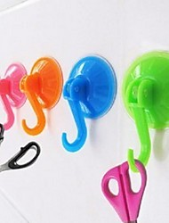 1Pcs Strong Vacuo Suction Cup Sucker Wall Hooks Hanger for Kitchen Bathroom(Random color)
