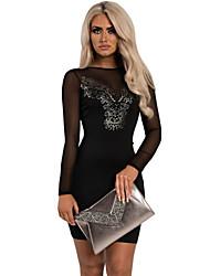 Women's  Black Patterned Detail Bodycon Mini Dress