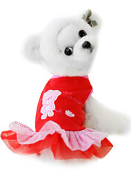 Dog Dress / Clothes/Clothing Red Spring/Fall Cartoon Fashion