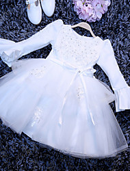 A-line Short / Mini Flower Girl Dress - Tulle Long Sleeve Jewel with