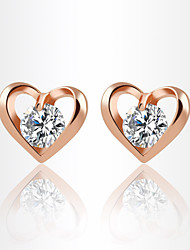 Allergy Free Silver Plated Women Stud Earrings European Style Luxury Zircon Insert Clean Heart Earrings