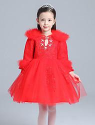 Vestido Chica de-Primavera-Algodón-Rojo / Blanco