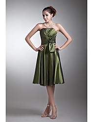 Lanting Bride Knee-length Taffeta Bridesmaid Dress A-line Strapless with Flower(s) / Side Draping