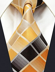 Men's Tie Yellow  Checked Fashion 100% Silk  Business