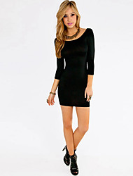 Women's Sexy / Casual / Day Solid Bodycon Dress , Round Neck Mini Polyester