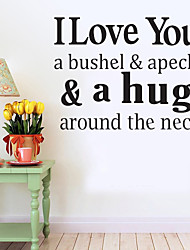Wall Stickers Wall Decals Style I Love You English Words & Quotes PVC Wall Stickers