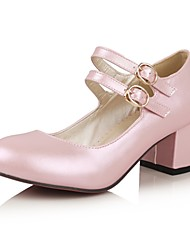 Women's Shoes Leatherette Chunky Heel Heels Heels Outdoor / Office & Career / Party & Evening Pink / Red / White
