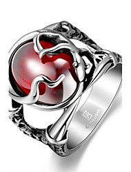 Fashion Generous Individual Men's Red Cubic Zirconia Stoving Varnish Stainless Steel Ring(Black)(1Pc) Christmas Gifts