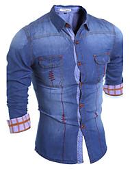 Men's Casual/Daily Simple Spring / Fall Shirt,Color Block Shirt Collar Long Sleeve Blue Polyester Medium