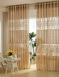 Two Panels Coffee Living Room Polyester Sheer Curtains Shades
