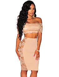 Women Two Piece Set Floral Lace Crop Top Midi Pencil Skirt Off the Shoulder High Waist Apricot