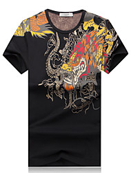 Men's Fashion Chinese Style Dragon Print Round Collar Slim Fit Short-Sleeve T-Shirt