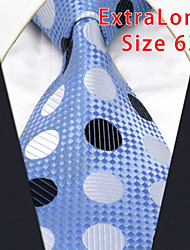 Men's Tie Laight Blue Dots Geometrical 100% Silk Business  Dress Casual Long