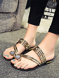 Women's Shoes Leatherette Flat Heel Comfort Sandals / Slippers Outdoor / Casual Black / Silver / Gold