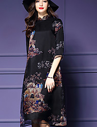 Women's Casual/Daily / Plus Size Vintage Loose Dress,Floral Stand Midi ¾ Sleeve Black Silk Spring Mid Rise Micro-elastic