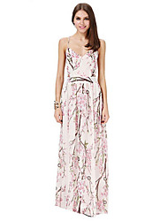Women's Sexy / Beach Floral A Line Dress , Strap Maxi Polyester