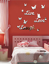 Funlife Live Love Laugh DIY 3D English Butterfly Stickers Decorative Mirror Mirror Letters