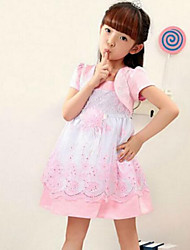 Girl's Blue / Pink / Red Dress,Floral / Lace Rayon Summer