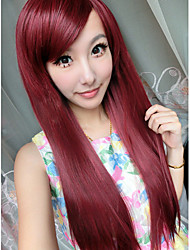 Cosplay Style Fuxia Long Straight Syntheic Wig