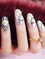 24pcs белый цветок резьба советы дизайн ногтей эскиз