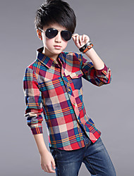 Boy's Cotton Spring/Fall Fashion Korean Check Pocket Shirt