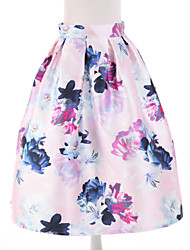 Women's Floral Pink Skirts,Simple Knee-length