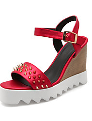 Women's Shoes Leatherette Wedge Heel Wedges Sandals Casual Black / Red / White / Gray / 1#
