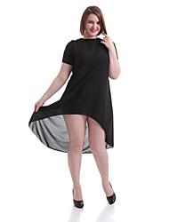 Robe Aux femmes Grandes Tailles / Sexy / Vintage / Soirée / Décontracté / Plage / Mignon Col Arrondi Au dessus du genou Polyester