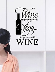 Wine Is Popular With English Proverbs Wall Red Wine The Kitchen Restaurant Individuality Creative Decorative Stickers