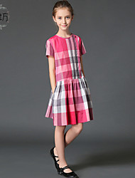 Girl's Multi-color / Pink Dress , Stripes / Check Cotton Summer / Spring / Fall