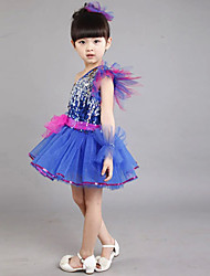 Jazz Outfits Children's Performance Sequined Sequins 2 Pieces Sleeveless Dress / Headpieces S:68cm  M:70cm  L:72cm  XL:74cm