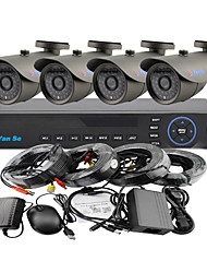 yanse® 4 canales 1000tvl 960H kit dvr del cctv del color impermeable sistema de cámaras de seguridad ir 3.6mm (66ft cable) f278cf04