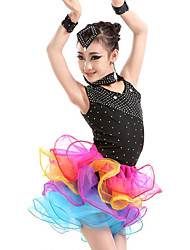 Latin Dance Dresses Children's Performance Spandex Draped / Ruffles 5 Pieces Black