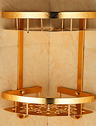 Antique Aluminum Wall Mounted Gold Solid Bathroom Shelf ,