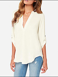 Women's V-Neck Chiffon Loose White Shirt