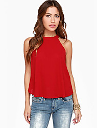 Damen Solide Einfach / Street Schick Ausgehen Bluse,Rundhalsausschnitt Ärmellos Rot / Schwarz Polyester Dünn