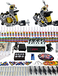 Solong Tattoo Complete Tattoo Kit 2 Pro Machines 54 Inks Power Supply Foot Pedal Needles Grips Tips TK260