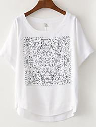 Ronde hals - Katoen / Linnen - Bloem - Vrouwen - T-shirt - Halflange mouw