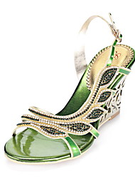 Women's Shoes Leather Chunky Heel Heels Sandals Party & Evening / Dress / Casual Green / Gold