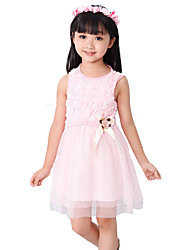 Girl's Pink / Red Dress,Bow Cotton Summer