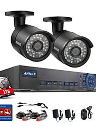 Annke® 4CH CCTV System 720P HDMI AHD CCTV DVR 2PCS 1.0 MP IR Outdoor Security Camera 1200 TVL Camera Surveillance System