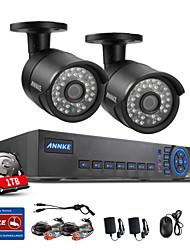 annke® 4ch système cctv 720p hdmi ahd dvr cctv 2pcs 1.0 système ir mp extérieur de la caméra de sécurité 1200 tvl de surveillance par