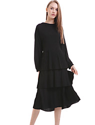 Women's Casual/Daily Simple Chiffon Dress,Solid Round Neck Knee-length Long Sleeve Black Silk / Polyester Spring