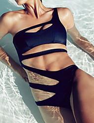 Femme Push-Up Licou Monokini Couleur Pleine Bandeau Push Up,Polyester Solide