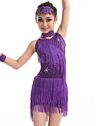 Robes(Fuchsia / Violet / Jaune,Elasthanne / Paillété / Fibre de Lait,Danse latine)Danse latine- pourEnfant Frange (s) SpectacleDanse