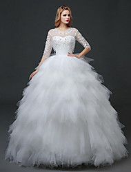 A-line Wedding Dress Floor-length Jewel Lace / Satin with Beading / Lace / Pattern